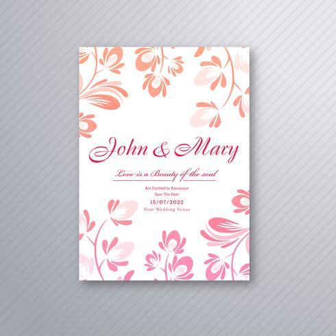 Decorative floral wedding invitation card design vector