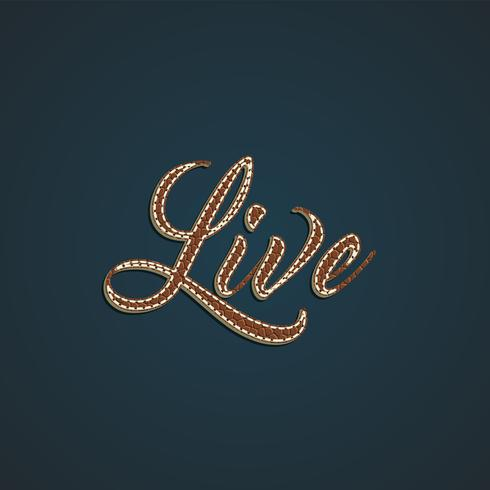 Realistic leather word, vector illustration