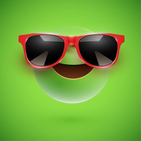 Hoog-gedetailleerde 3D-smiley met zonnebril op een kleurrijke achtergrond, vectorillustratie