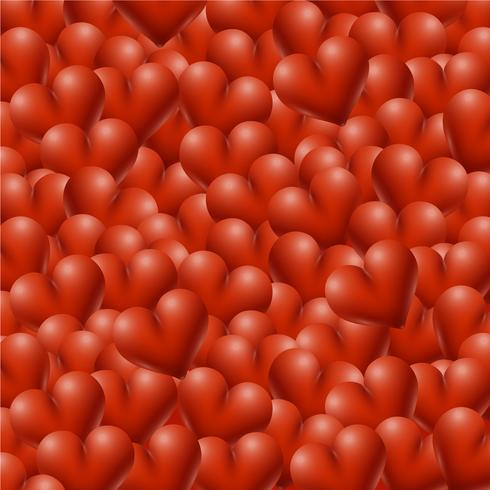 Red high-detailed hearts background, vector illustration