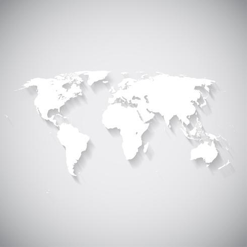 Mapa del mundo blanco, ilustración vectorial vector