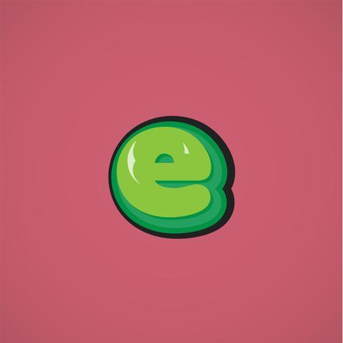 Carácter cómico verde de un conjunto de fuentes, ilustración vectorial vector
