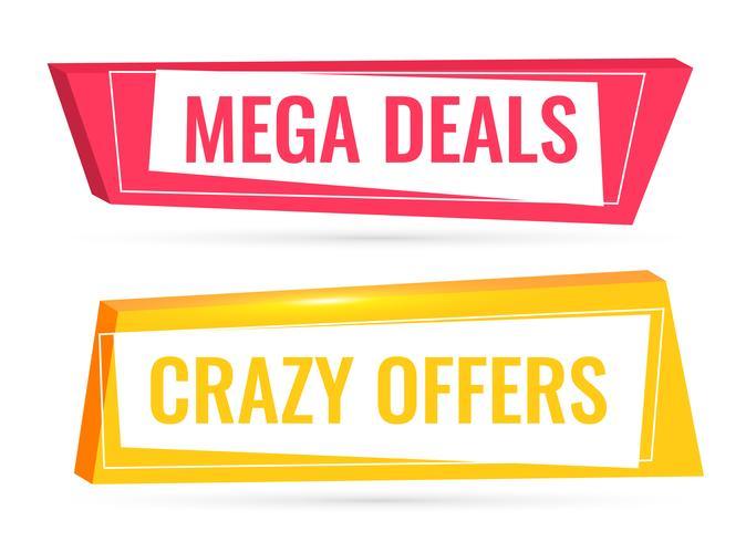 ofertas y ofertas banner de venta en estilo 3d