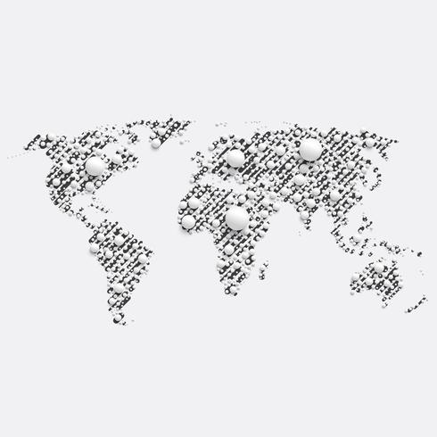 White world map made by balls, vector illustration