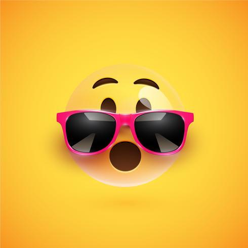 Hög detaljerad 3D smiley med solglasögon på en färgstark bakgrund, vektor illustration
