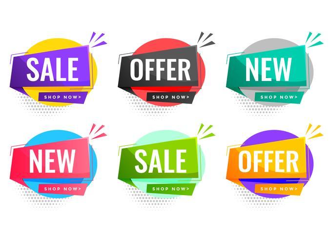 verkoop en biedt labels voor zakelijke promotie