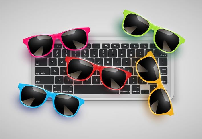 Occhiali da sole realistici alto dettagliati sullo scrittorio con la tastiera, illustrazione di vettore