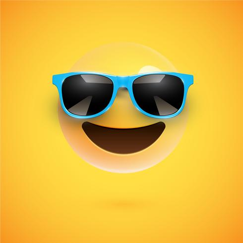 Smiley 3D dettagliato con gli occhiali da sole su un fondo variopinto, illustrazione di vettore