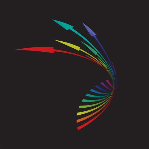 Flèches colorées sur fond noir, illustration vectorielle