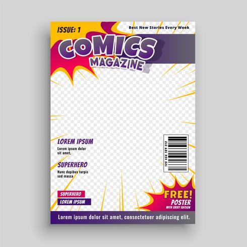 revista cómica diseño de plantilla de portada
