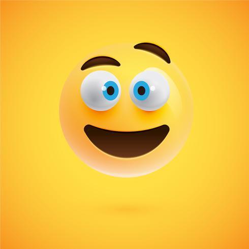 Emoticon realista amarillo cara sonriente, ilustración vectorial vector