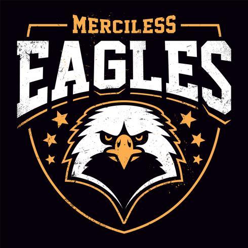Plantilla de emblema de grunge de mascota de águila vector