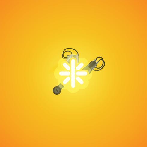 Personnage néon réaliste jaune avec fils et console à partir d'un jeu de polices, illustration vectorielle