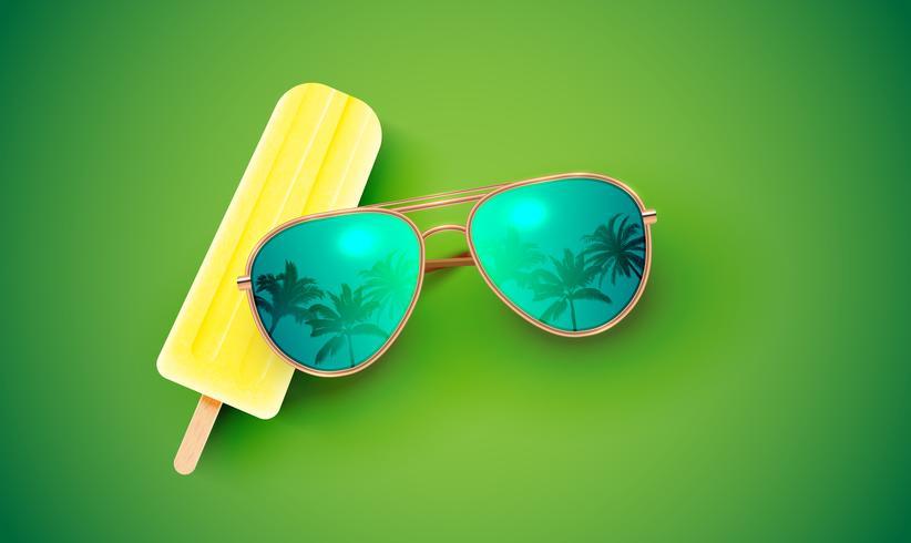 Óculos de sol realistas com sorvete no fundo colorido, ilustração vetorial