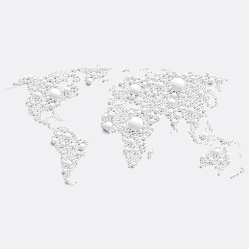 Mapa del mundo blanco hecho por bolas, ilustración vectorial
