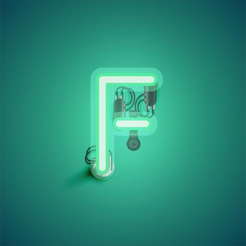 Carácter de neón realista verde con cables y consola de un conjunto de fuentes, ilustración vectorial