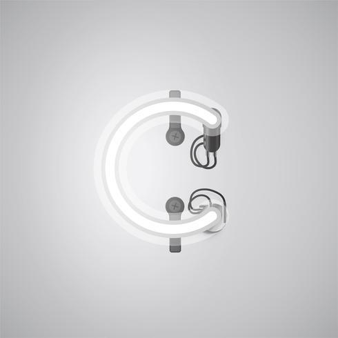 Carácter de neón realista gris con cables y consola de un conjunto de fuentes, ilustración vectorial