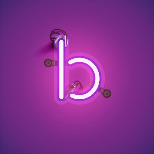 Personnage de néon réaliste rose avec fils et console à partir d'un jeu de polices, illustration vectorielle