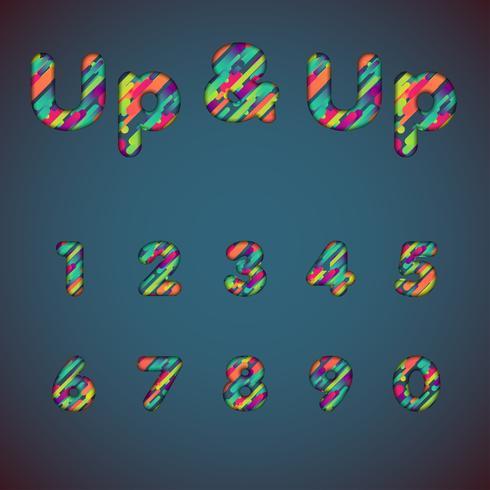Set di caratteri colorati 'Up & up' con ombre | Effetto 3D | Illustrazione vettoriale