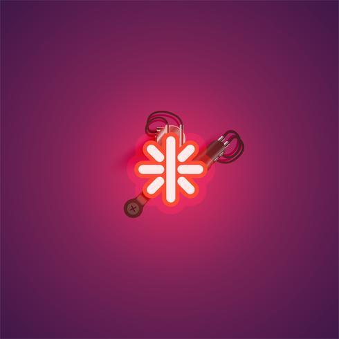 Carácter de neón realista rojo con cables y consola de un conjunto de fuentes, ilustración vectorial