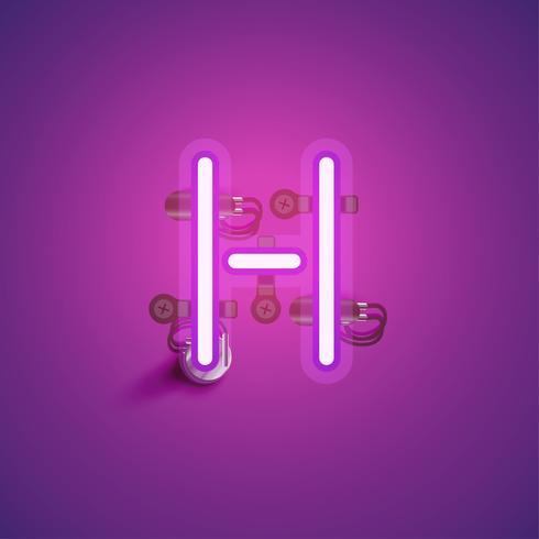 Carácter de neón realista rosa con cables y consola de un conjunto de fuentes, ilustración vectorial