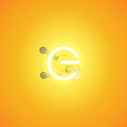 Gul realistisk neon karaktär med trådar och konsol från en fontset, vektor illustration