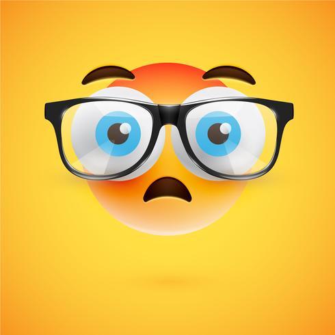 3D gult uttryckssymbol med glasögon, vektor illustration
