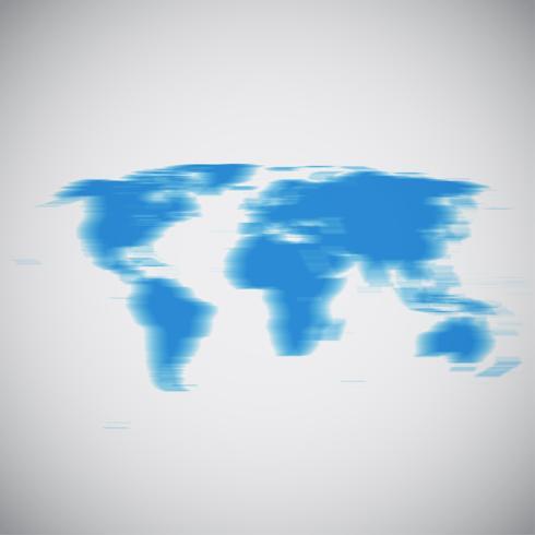 Mapa del mundo con el desenfoque de movimiento, ilustración vectorial