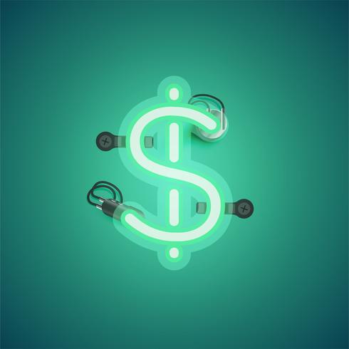 Grön realistisk neon karaktär med ledningar och konsol från en fontset, vektor illustration