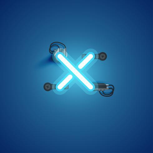 Carácter de neón realista azul con cables y consola de un conjunto de fuentes, ilustración vectorial