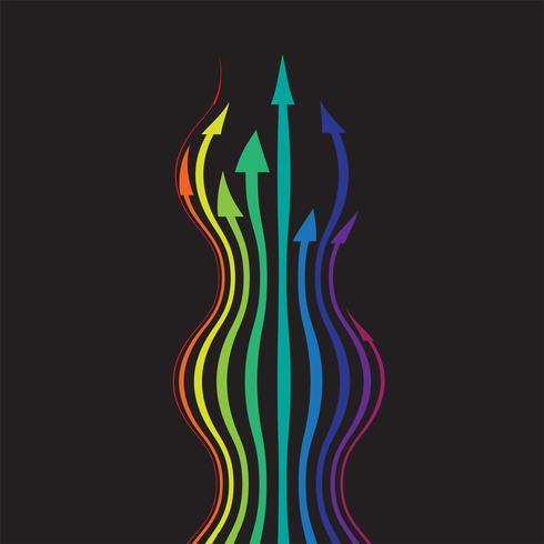 Flechas de colores sobre fondo negro, ilustración vectorial