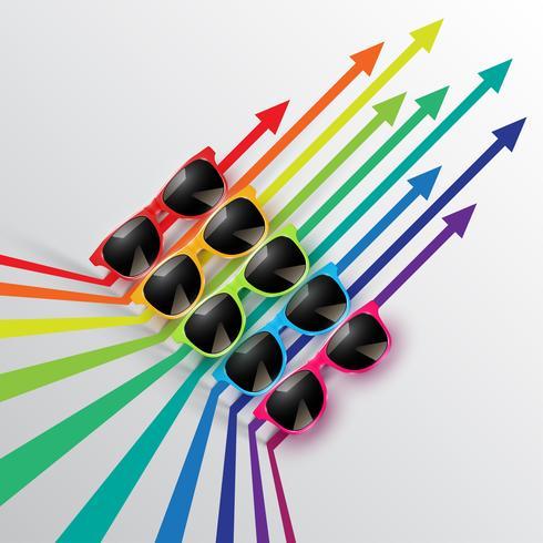 Gafas de sol de colores realistas con flechas, ilustración vectorial