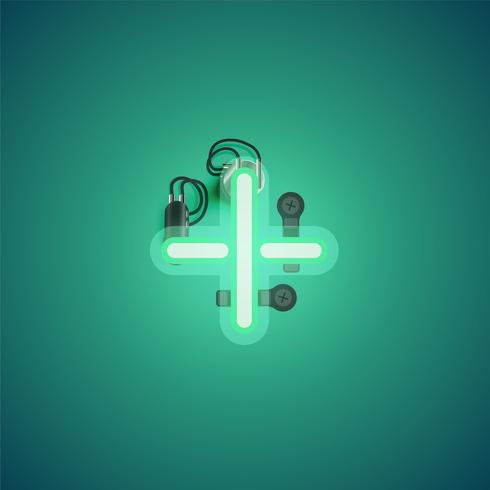 Carattere al neon realistico verde con fili e console da un fontset, illustrazione vettoriale