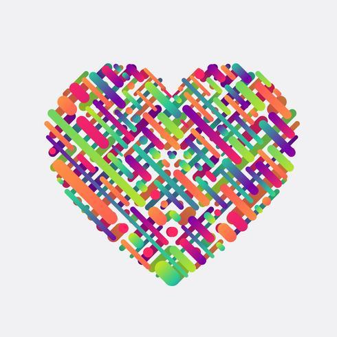 Forma colorata di un cuore, illustrazione vettoriale