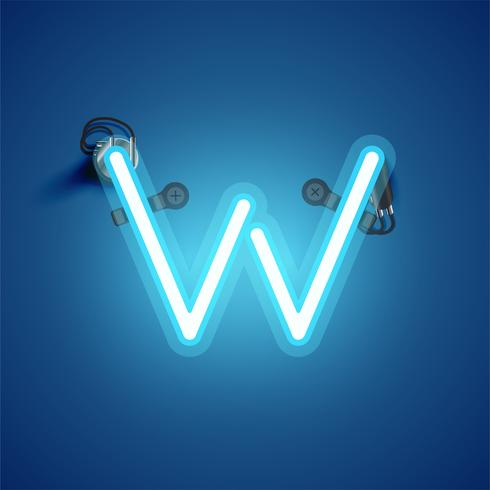 Caractère de néon réaliste bleu avec fils et console à partir d'un jeu de polices, illustration vectorielle