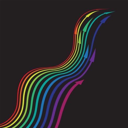 Colorful arrows on black background, vector illustration