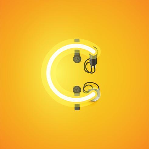 Carácter de neón realista amarillo con cables y consola de un conjunto de fuentes, ilustración vectorial