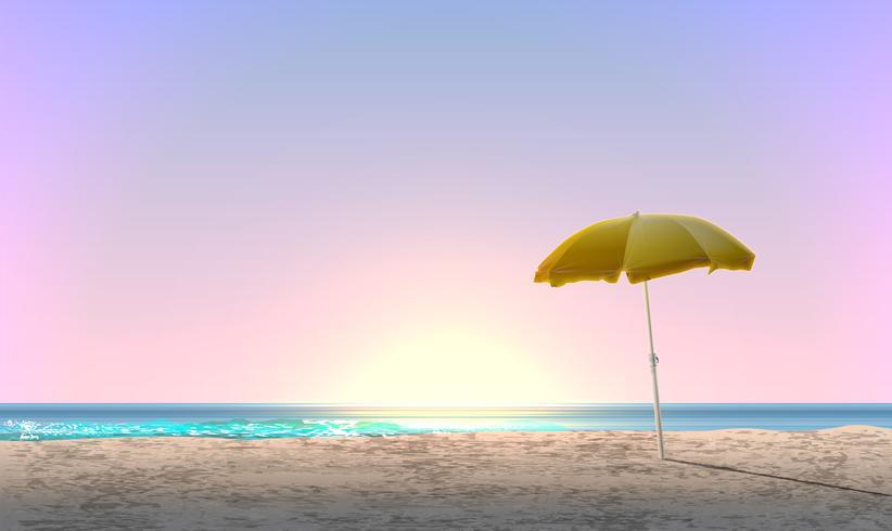 Realistiskt landskap av en strand med solnedgång / soluppgång och en gul parasoll, vektor illustration