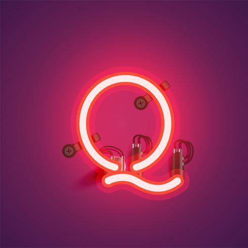 Röd realistisk neon karaktär med trådar och konsol från en fontset, vektor illustration