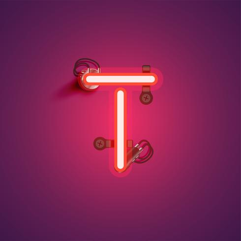 Red realistic neon character with wires and console from a fontset, vector illustration