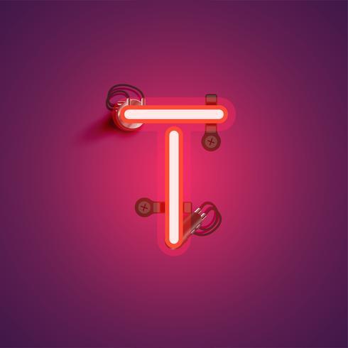 Caractère de néon réaliste rouge avec fils et console à partir d'un jeu de polices, illustration vectorielle