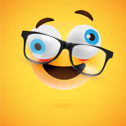 Emoticon amarillo 3D con lentes, ilustración vectorial vector