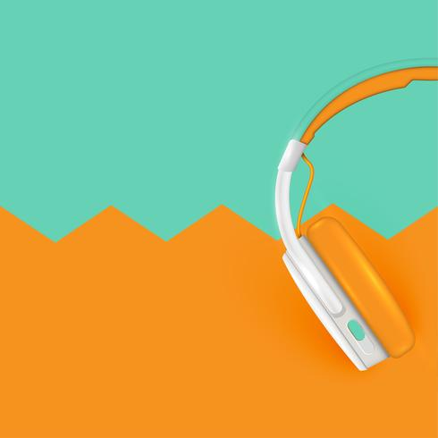 Auriculares realistas, con cables en un fondo colorido, ilustración vectorial