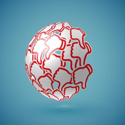 Azul realista sombreado 'pulgares arriba' globo con conexiones, ilustración vectorial