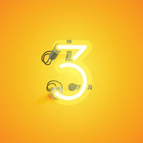 Carattere al neon realistico giallo con fili e console da un fontset, illustrazione vettoriale