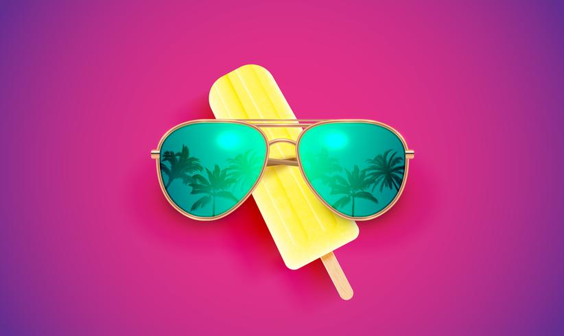 Lunettes de soleil réalistes avec crème glacée sur fond coloré, illustration vectorielle