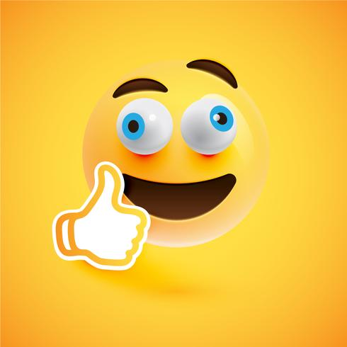 Emoticon met omhoog duimen, vectorillustratie
