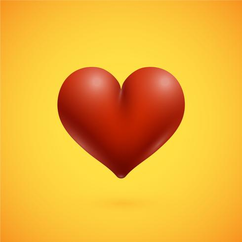 Red high-detailed heart, vector illustration