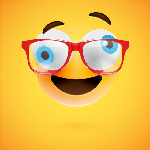 3D yellow emoticon with eyeglasses, vector illustration