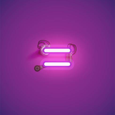 Rosa realistischer Neoncharakter mit Drähten und Konsole von einem fontset, Vektorillustration
